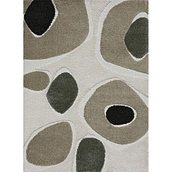 "Jullian Ivory Abstract Shag Rug (5'3"" x 7'7"")"