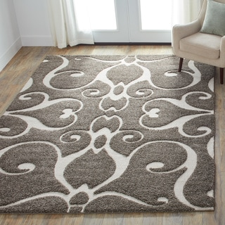 Jullian Charcoal Grey/Brown Shag Rug (5'3 x 7'7)
