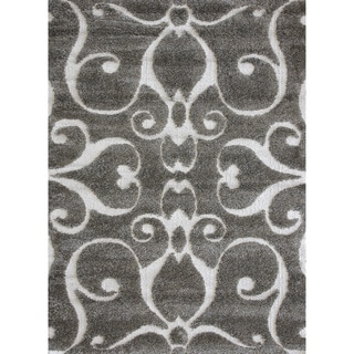 Jullian Charcoal Grey/ Brown Shag Rug (7'7 x 10'6)