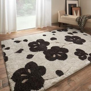 Jullian Ivory Floral Shag Rug (7'7 x 10'6)