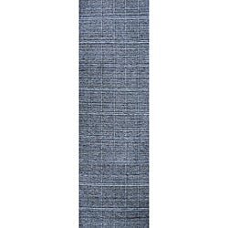 Hand-loomed Denim Boxes Blue Wool Runner (2'6 x 8')
