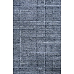Hand-loomed Denim Boxes Blue Wool Rug (7'6 x 9')