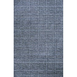 Hand-loomed Denim Boxes Blue Wool Rug (8' x 11')