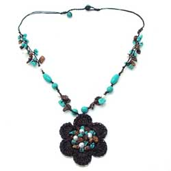 Cotton Rope Turquoise and Freshwater Pearl Necklace (Thailand)