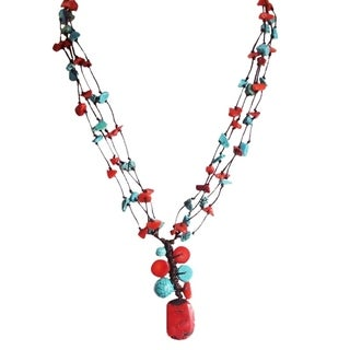 Cotton Rope Coral and Turquoise Stone Necklace (Thailand)