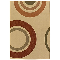 Mandara Indoor/ Outdoor Geometric Beige Rug (5' x 8')