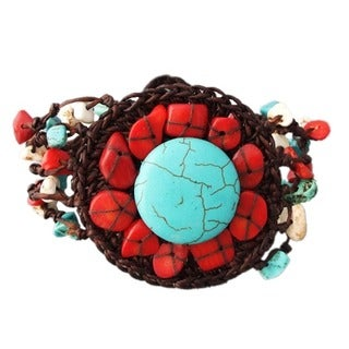 Stranded Cotton Round Turquoise and Coral Bracelet (Thailand)