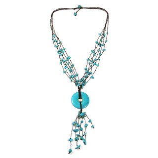 Cotton Multi-strand Turquoise Donut Rope Necklace (Thailand)