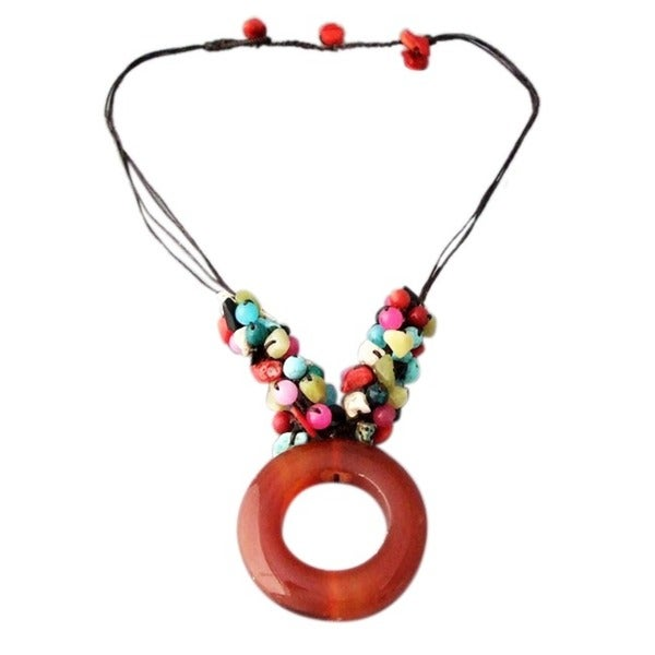 Cotton Donut Carnelian and Gemstone Necklace (Thailand)