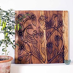 Wooden Bird Walnut Oil Finish 30x30-inch Wall Panel (Thailand)