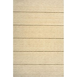 Hand-loomed Ivory Rows Wool Rug (7'6 x 9'6)