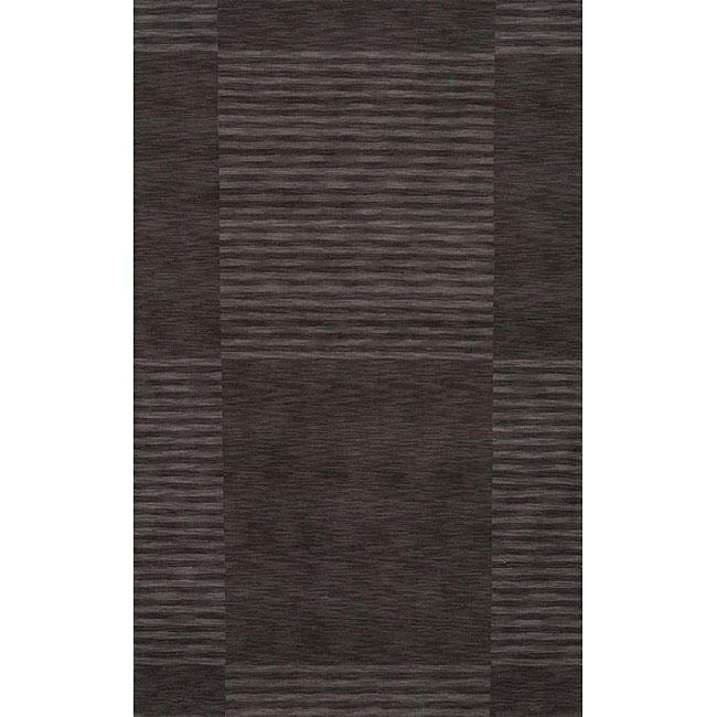Loft Charcoal Blocks Hand-Loomed Wool Rug (5' x 8')