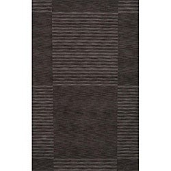 Hand-loomed Squares Grey Wool Rug (7'6 x 9'6)