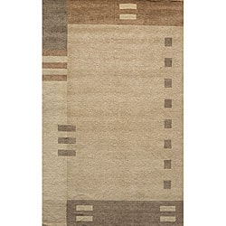 Hand-loomed Brown Border Wool Rug (5' x 8')