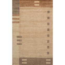 Hand-loomed Brown Border Wool Rug (7'6 x 9'6)