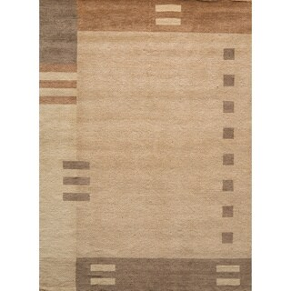 """Loft Brown Dots/ Dashes Hand-Loomed Wool Rug (7'6"""" x 9'6"""")"""