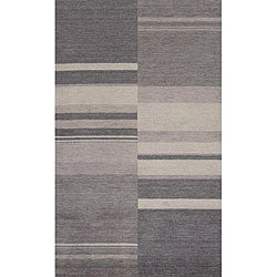 Hand-loomed Charcoal Stripes Wool Rug (7'6 x 9'6)