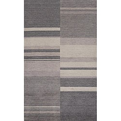 "Loft Charcoal Stripes Hand-Loomed Wool Rug (7'6"" x 9'6"")"