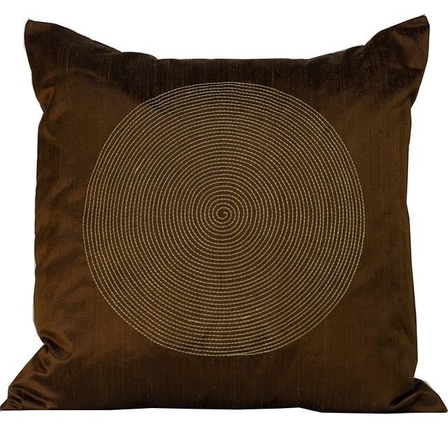 'Spiral' Chocolate 20x20-inch Decorative Pillow
