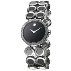 Movado Women's 'Ono Moda' Polished Stainless-Steel and Ceramic Diamond Watch