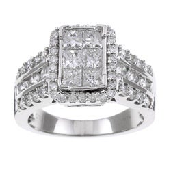 Eloquence 14k White Gold 2ct TDW Diamond Engagement Ring (H-I, I1-I2)