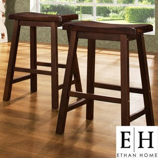 ETHAN HOME Salvador Cherry Low Saddleback Stool (Set of 2)