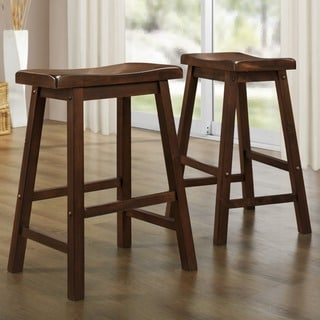TRIBECCA HOME Salvador Cherry Low Saddleback Stool (Set of 2)