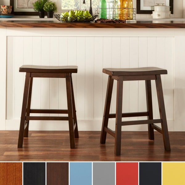 TRIBECCA HOME Salvador Saddle Back 24-inch Counter Height Stool (Set of 2)
