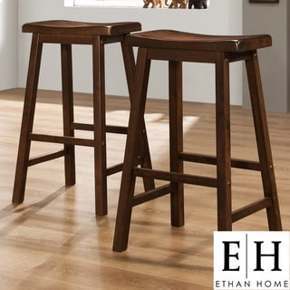 ETHAN HOME Salvador Cherry High Saddleback Stool (Set of 2)