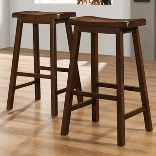 TRIBECCA HOME Salvador Cherry High Saddleback Stool (Set of 2)