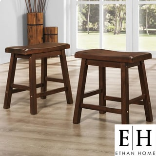 ETHAN HOME Salvador Saddle Back 18 inch Warm Cherry Brown Stool (Set of 2)