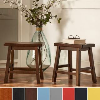 TRIBECCA HOME Salvador Saddle Back 18 inch Warm Cherry Brown Stool (Set of 2)