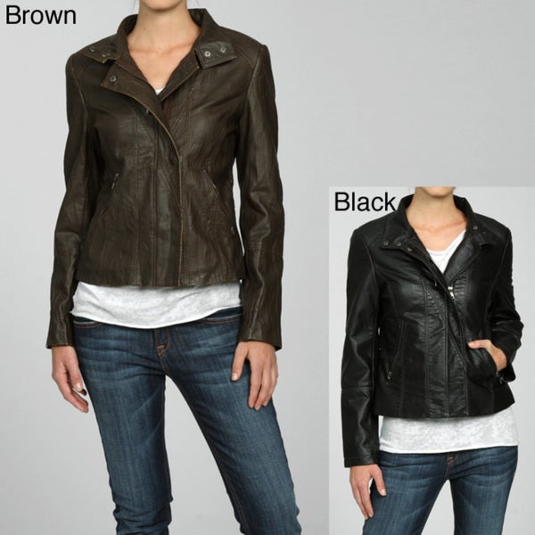 Collezione Women's Faux Leather Crinkle Moto Jacket