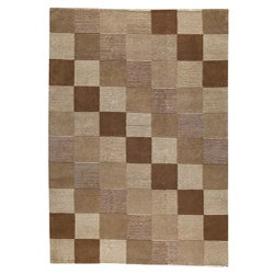 Hand-knotted Indotibetan Brown Checkered Wool Rug (8'3 x 11'6)