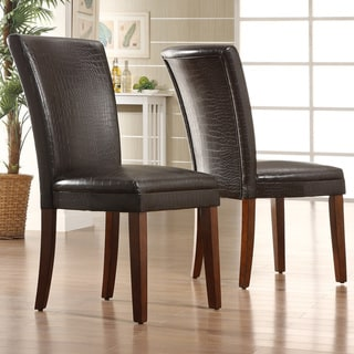 TRIBECCA HOME Decor Faux Alligator Print Dining Chair (Set of 2)