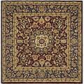 Safavieh Handmade Classic Kerman Burgundy/ Navy Wool Rug (8' Square)