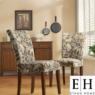ETHAN HOME Leaf Print Accent Parson Side Chairs (Set of 2)