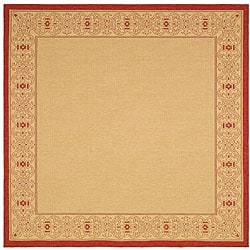 Indoor/ Outdoor Oceanview Natural/ Red Rug (6' 7 Square)