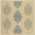 Indoor/ Outdoor St. Martin Natural/ Blue Rug (6' 7 Square)