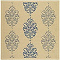 Indoor/ Outdoor St. Martin Natural/ Blue Rug (7'10 Square)