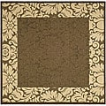 Indoor/ Outdoor Kaii Chocolate/ Natural Rug (6' 7 Square)