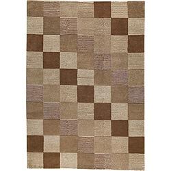 Hand-Knotted Idotibetan Orange Checkered Wool Area Rug (4'6 x 6'6)