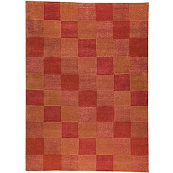 Hand-knotted Indotibetan Orange Checkered Wool Rug (4'6 x 6'6)