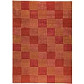 Hand-knotted Indotibetan Orange Checkered Wool Rug (4'6 x 6'6)