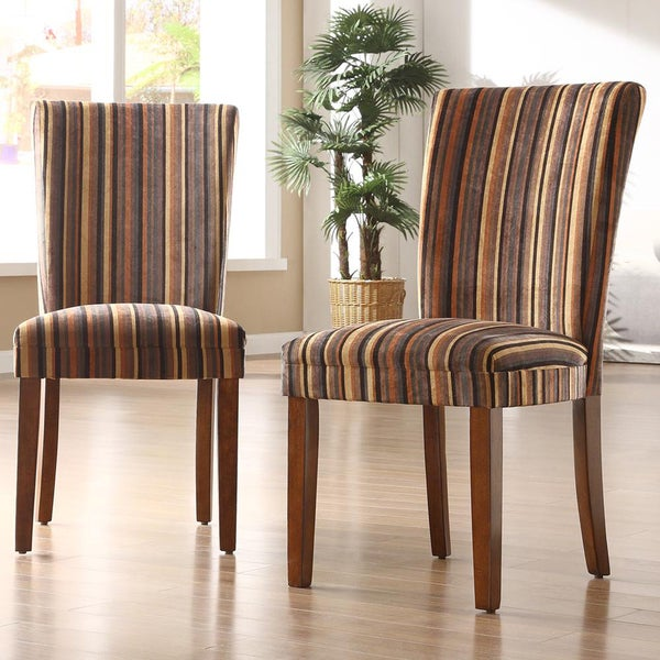 TRIBECCA HOME Brown Stripe Print Parson Side Chairs (Set of 2)