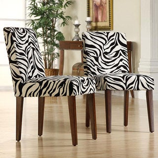 Calista Zebra Print Dining Chairs (Set of 2)
