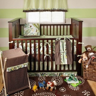 My Baby Sam Paisley Splash in Lime 4-piece Crib Bedding Set