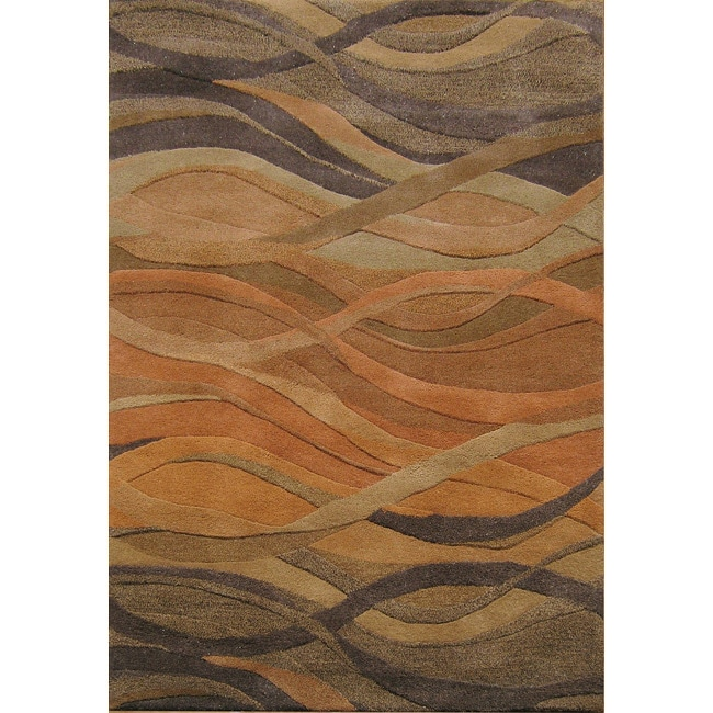 Alliyah Handmade Multi Abstract New Zealand Blend Wool Rug� (5' x 8')