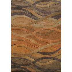 Alliyah Handmade Multi Abstract New Zealand Blend Wool Rug (5' x 8')