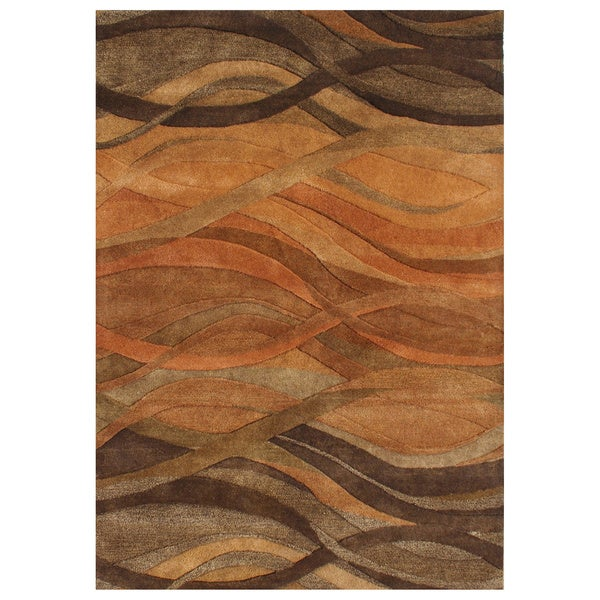 Alliyah Handmade Multi Abstract New Zealand Blend Wool Rug� (5' x 8')